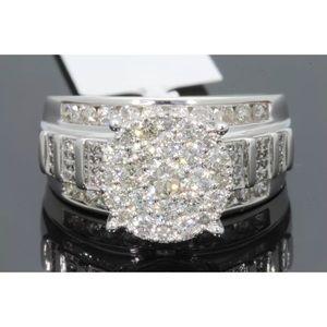 1.80 carat 10k white gold diamond cluster ring